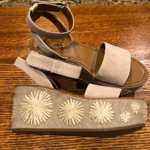 NWOT Franco Sartos wedge leather upper sandals